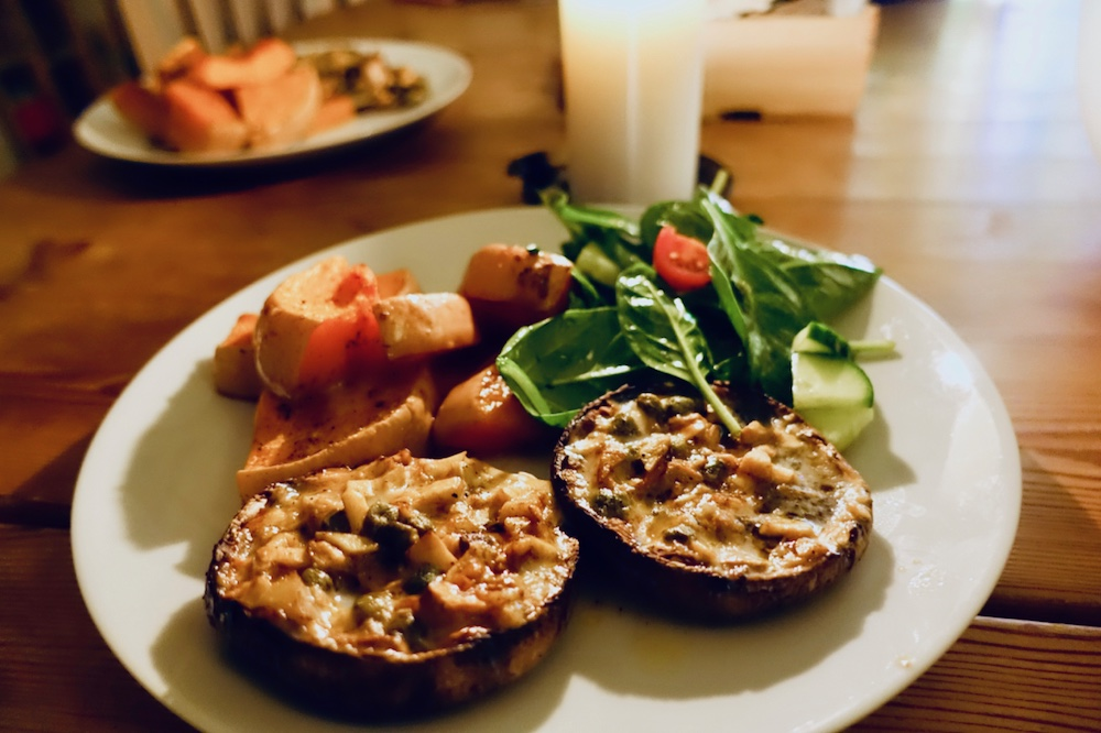 Stuffed Portobello and baked butternut squash